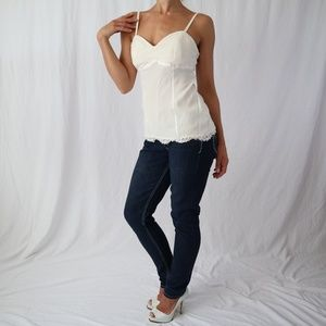 GORGEOUS, SILK & LACE, CREAM CACHE TOP, SIZE SMALL